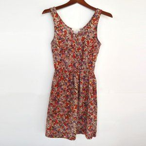 Lush Floral Sleeveless Dress with Stretch Waist